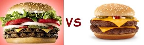 bk vs mcD hamburger
